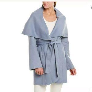 Tahari Marla Double Face Wool Wrap coat Pale Blue